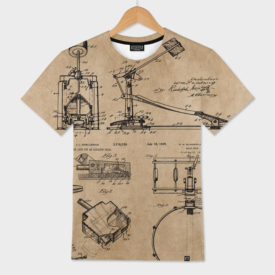 07a5a796 Drummer Gift Drum Set Vintage Patent Blueprints» Men's All Over T ...