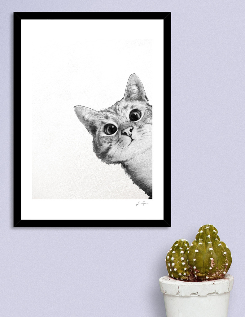 «sneaky Cat» Art Print By Laura Graves