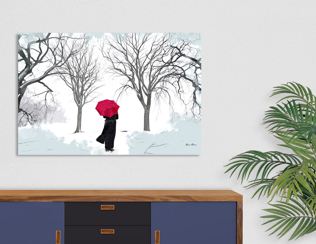 White snow grey sky and red umbrella canvas print by for Kitchen colors with white cabinets with red umbrella canvas wall art